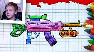 Как рисовать АВТОМАТ, Урок рисования Никиты,  РыбаКит(РыбаКит - папа рисует: http://www.youtube.com/ribakit3 Продолжаем наши уроки рисования. Мы больше болтаем чем рисуем. Сегод..., 2015-11-17T19:50:05.000Z)