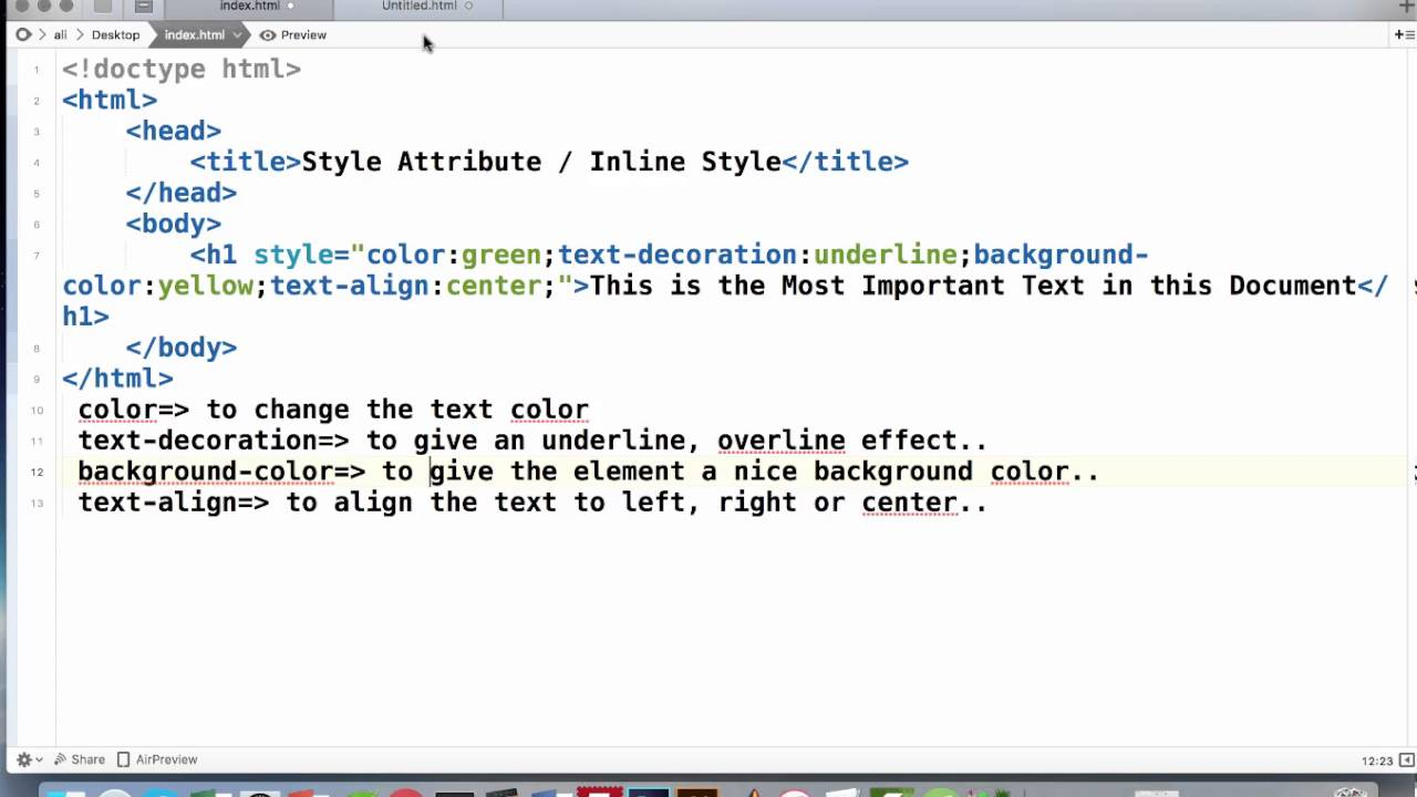 HTML Inline Style (Style Attribute) Tutorial - YouTube
