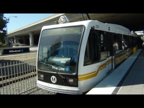 Los Angeles Metro Blue Line. Train ride from Willowbrook to Downtown Long Beach