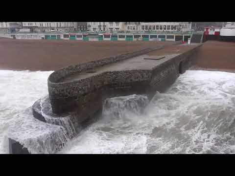 storm caroline hit the uk in brighton uk very big stormy waves