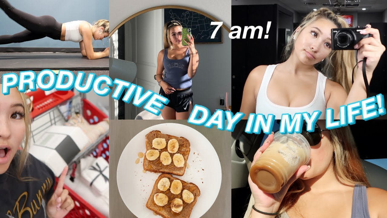 7AM PRODUCTIVE DAY IN MY LIFE! workout, swim meets, shopping, & surprise visit!