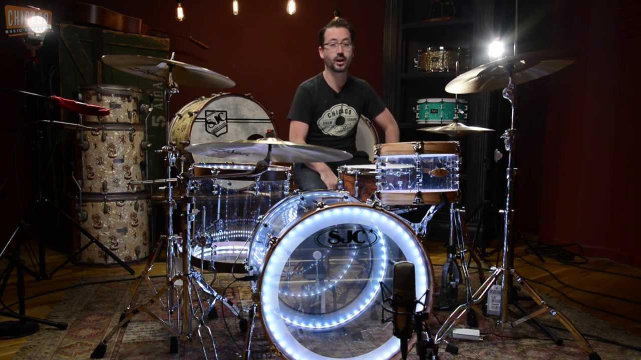 Sjc Custom Clear Acrylic Drum Kit W Wood Hoops Amp Led