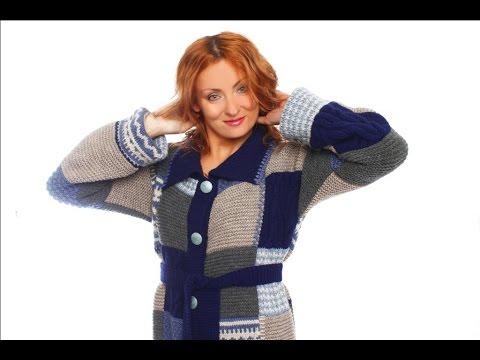 Вязаное пальто в стиле пэчворк