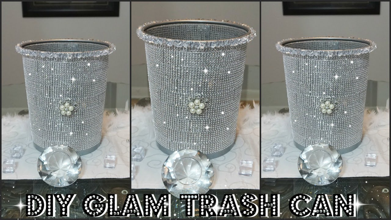 Diy Dollar Store Bling Trash Can Diy Quick And Easy Room Decor Ideas Youtube