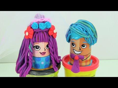 ♥♥Play-Doh Tạo Kiểu Tóc Đám Cưới Cho Cô Dâu Chú Rễ (Bí Đỏ) Playdoh Hair Salon Wedding Hair Style