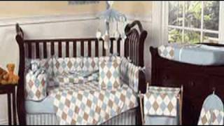 Brown And Blue Argyle Baby Boy Crib Bedding Set By Jojo Desi