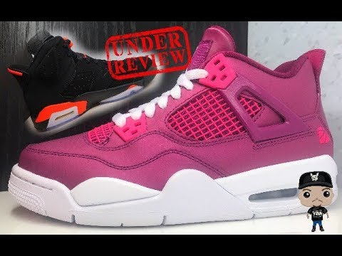 new style 7b1d1 7fa51 AIR JORDAN 4 TRUE BERRY RUSH PINK VALENTINES DAY 2019 RETRO GS SNEAKER  REVIEW
