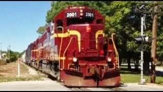 Louisville and Indiana Railroad numbers 2001 and 2003 shown here passing through Greenwood Indiana