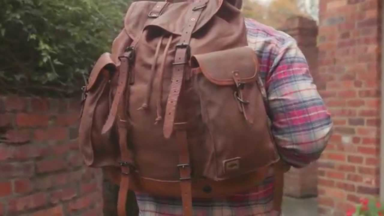 Military Vintage Rucksack Backpack In Waxed Canvas And