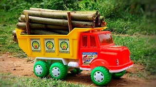 Dumper truck Fully loaded heavy timbers | Truck toy video | BommuKutty