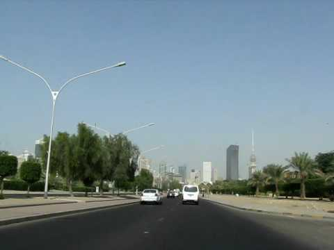 Approaching Kuwait City downtown from the port area on Road 80.