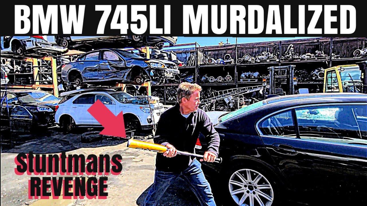 Neutral Drop 2004 BMW 745LI Blown Up By Angry Stuntman! Baseball Bats, BB's & Cement!
