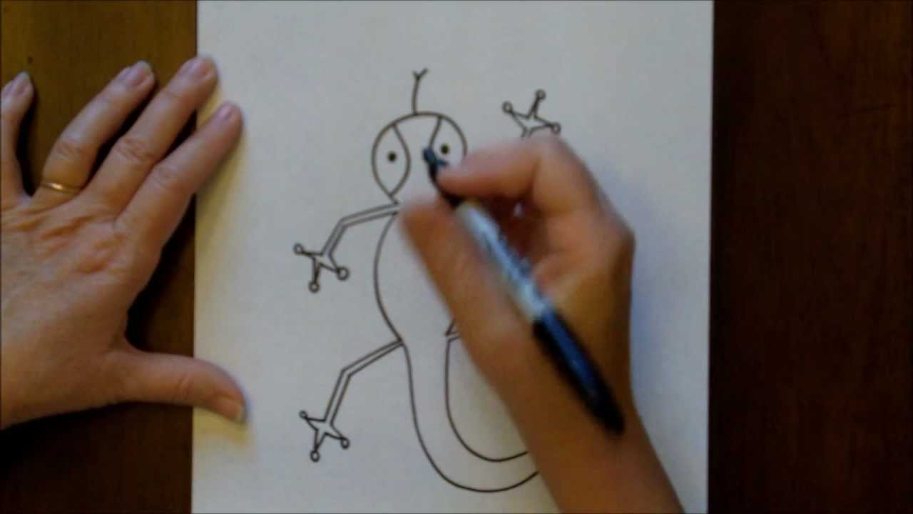 How To Draw A Cartoon Lizard Easy Drawing Lesson For Children Youtube
