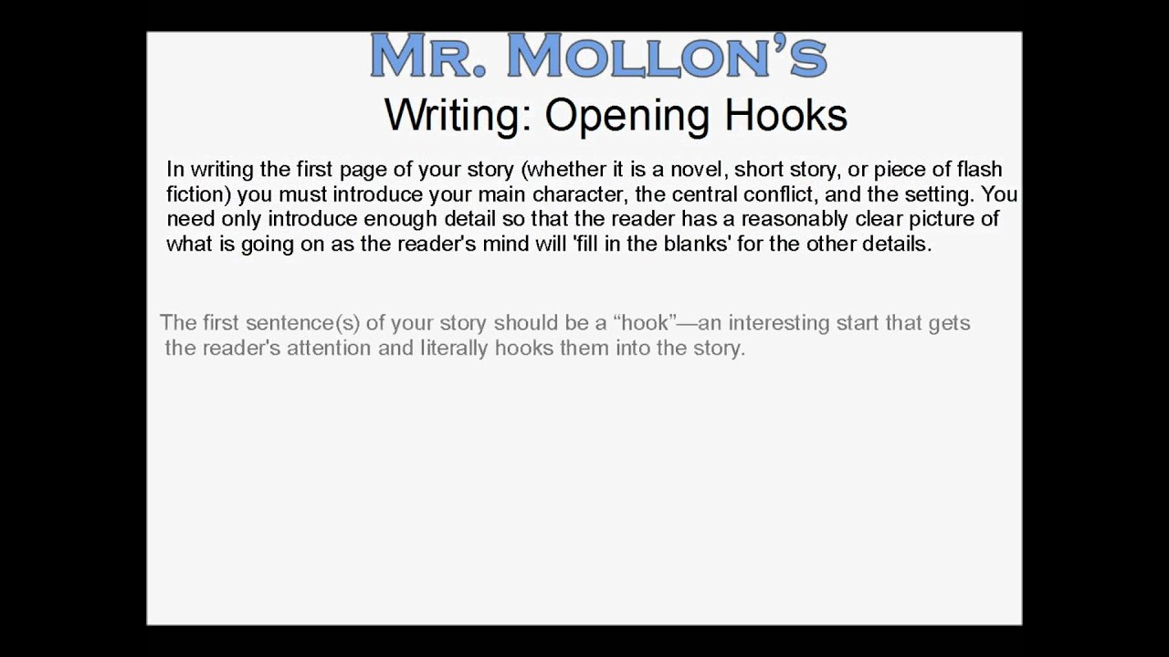 interesting hooks for essays A hook for every book by: your hook is the element that is unique to your story hooks are if you're writing about leaving corporate america after a.