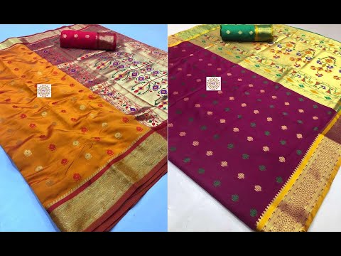 new arrival paithini silk sarees collections with weaving buttas for best price