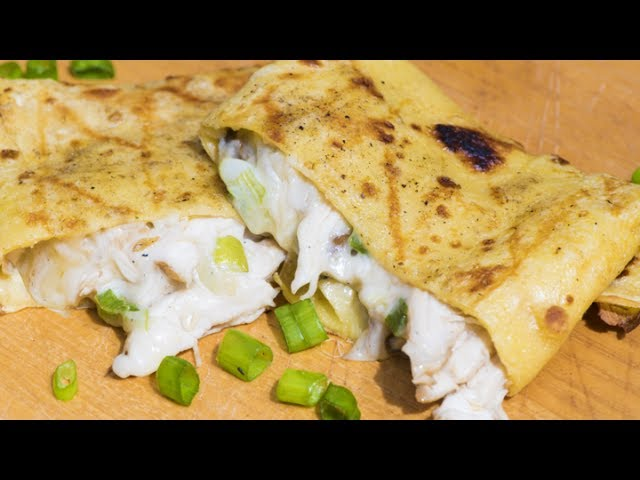 Cheesey Chicken & Mushroom Grilled Crepes