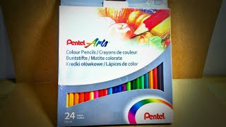 UNBOXING + REVIEW : PENTEL Colored Pencils (24set)