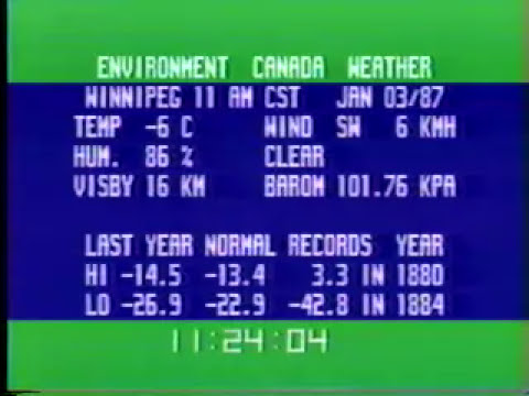 Winnipeg - Environment Canada Weather channel (January 3, 1987)