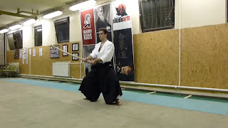 kirikaeshi shikodachi -sword-boken [TUTORIAL] Aikido basic weapon technique 合気剣 合気剣