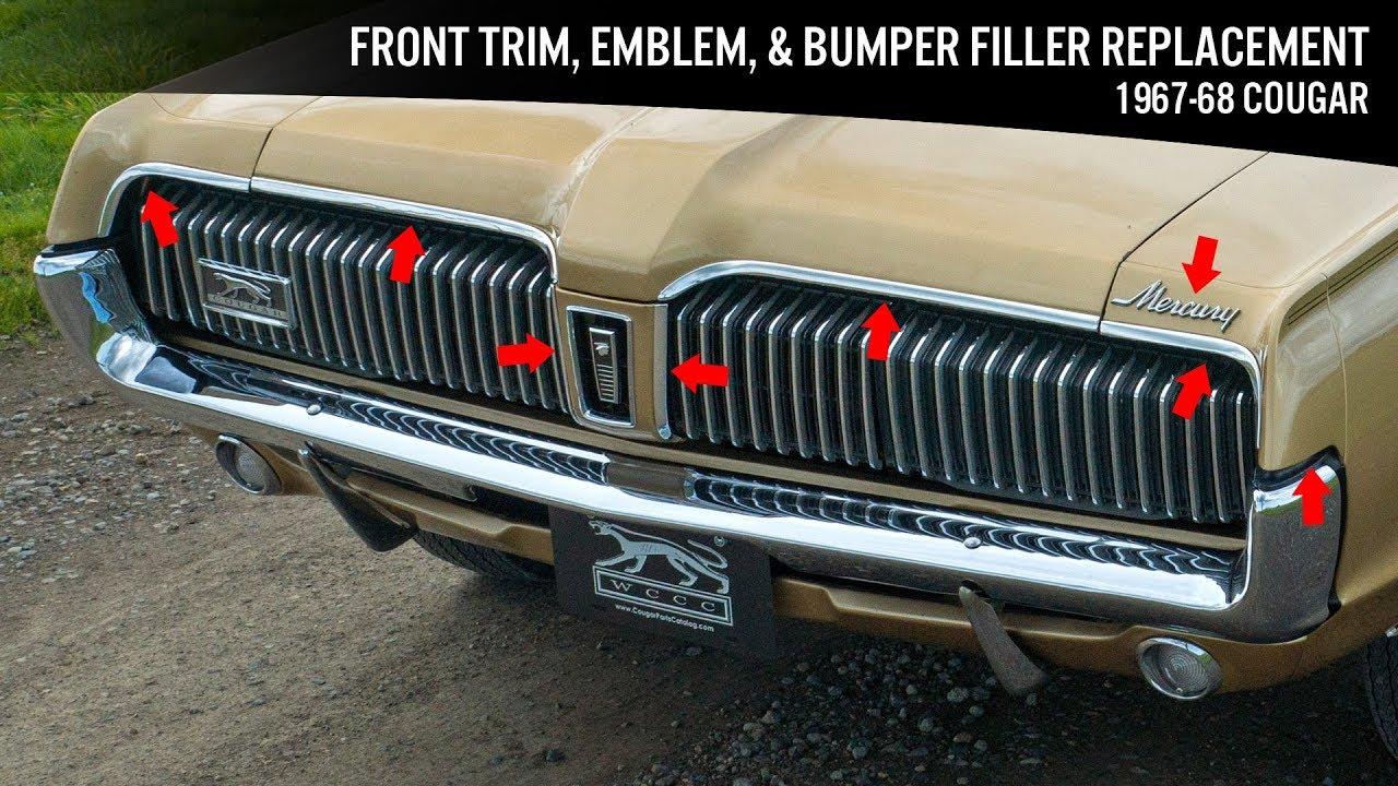front aluminum trim, emblem, \u0026 bumper rubber replacement 1967 68