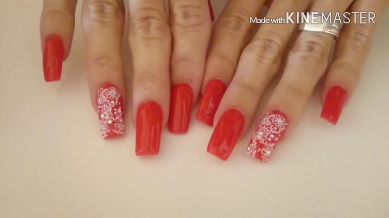 Uñas Acrilicas Rojo Coral Youtube