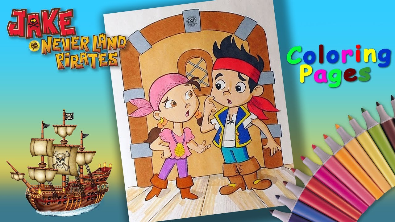 Jake and the Never Land Pirates Coloring Book How to coloring Izzy and Jake