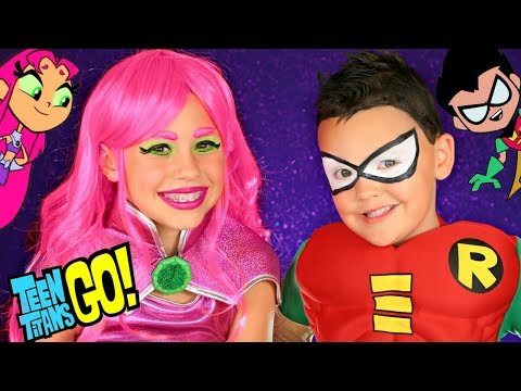 Teen Titans Go Starfire and Robin Costumes and Makeup!