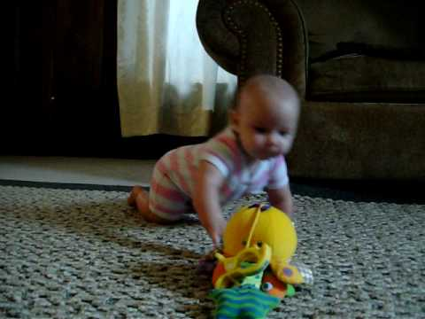 4 Month Old Baby Crawling by herself!