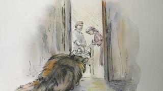 """""""Ю-ю"""" Кошка около комнаты больного мальчика."""