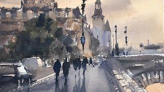 """Advancing with Watercolor: Exercise with Tonal Values """"Twilight, Île de la  Cité"""""""