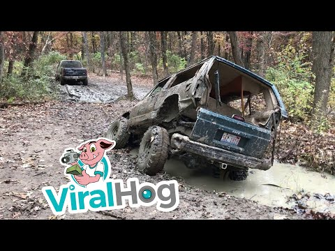 Off-Roading Goes Horribly Wrong When Rusty Jeep Hits Mud Hole