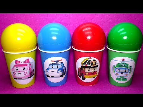 Видео для детей. Сюрпризы. Игрушки. Робокар Поли. Magic balloons surprise for kids. Learn colors.