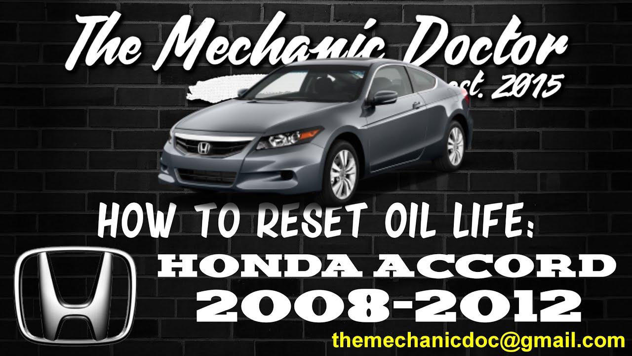 how to reset oil light honda accord 2008 2009 2010 2011 2012