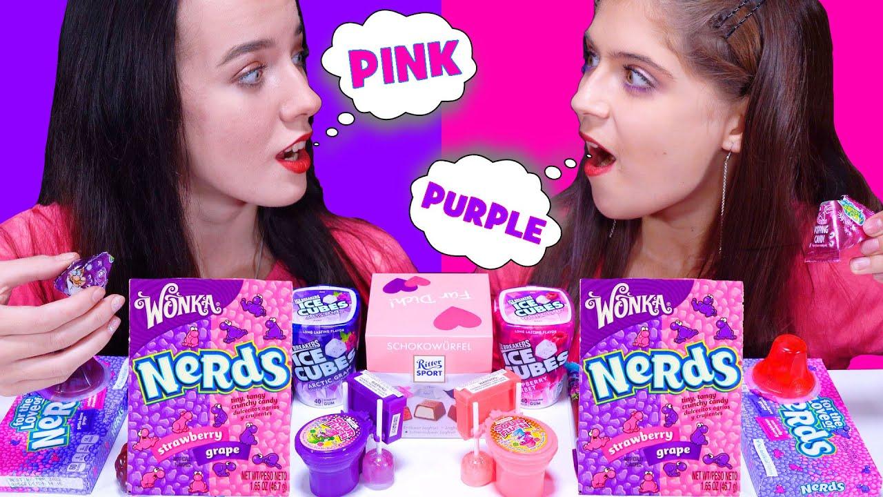 Pink Food VS Purple Food Challenge (Hubba Bubba, Tik Tok Jelly) MUKBANG by LiLiBu