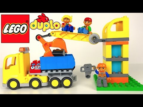 LEGO DUPLO BIG CONSTRUCTION SITE & MIGHTY MACHINES BULLDOZER DUMP TRUCK CRANE WITH HOOK-STOP MOTION