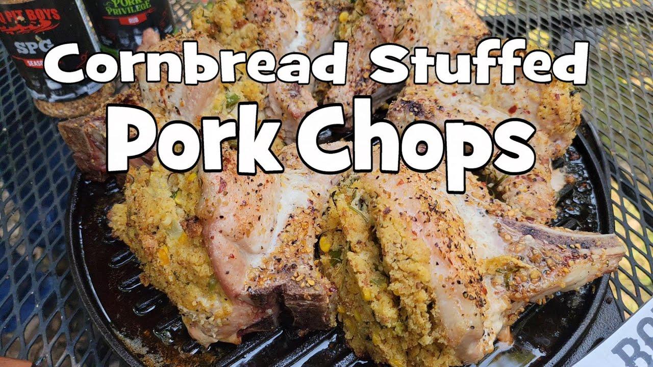 Cornbread Stuffed Grilled Pork Chops   Recipe   BBQ Pit Boys