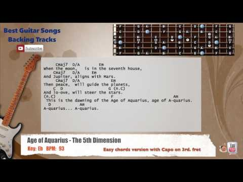 Age of Aquarius - The 5th Dimension Guitar Backing Track with scale, chords and lyrics