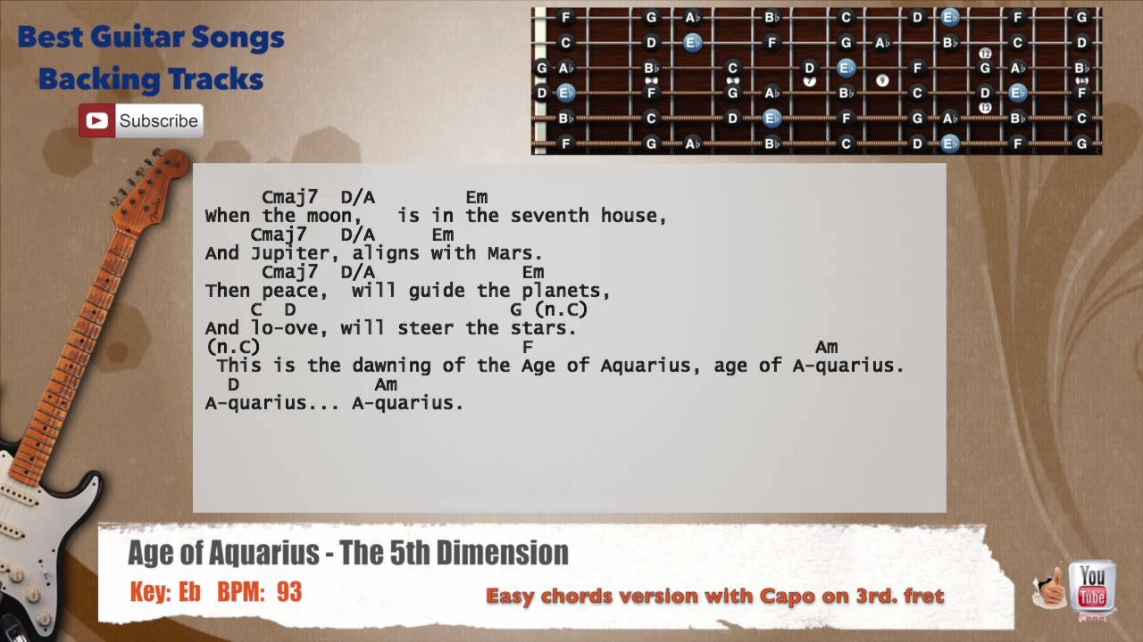 Age Of Aquarius The 5th Dimension Guitar Backing Track