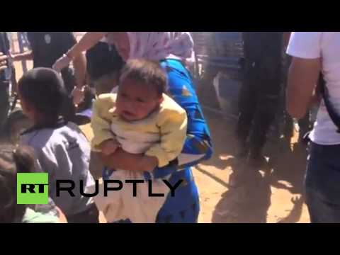 Turkey: Kurdish children flee U.S airstrikes on Syria