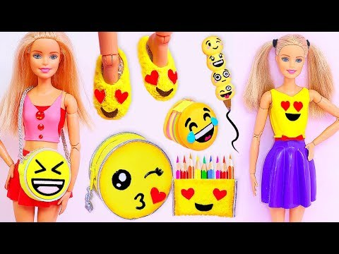 EMOJI BARBIE CRAFTS AND HACKS: Miniature School Supplies, Handbag, Dress, Shoes