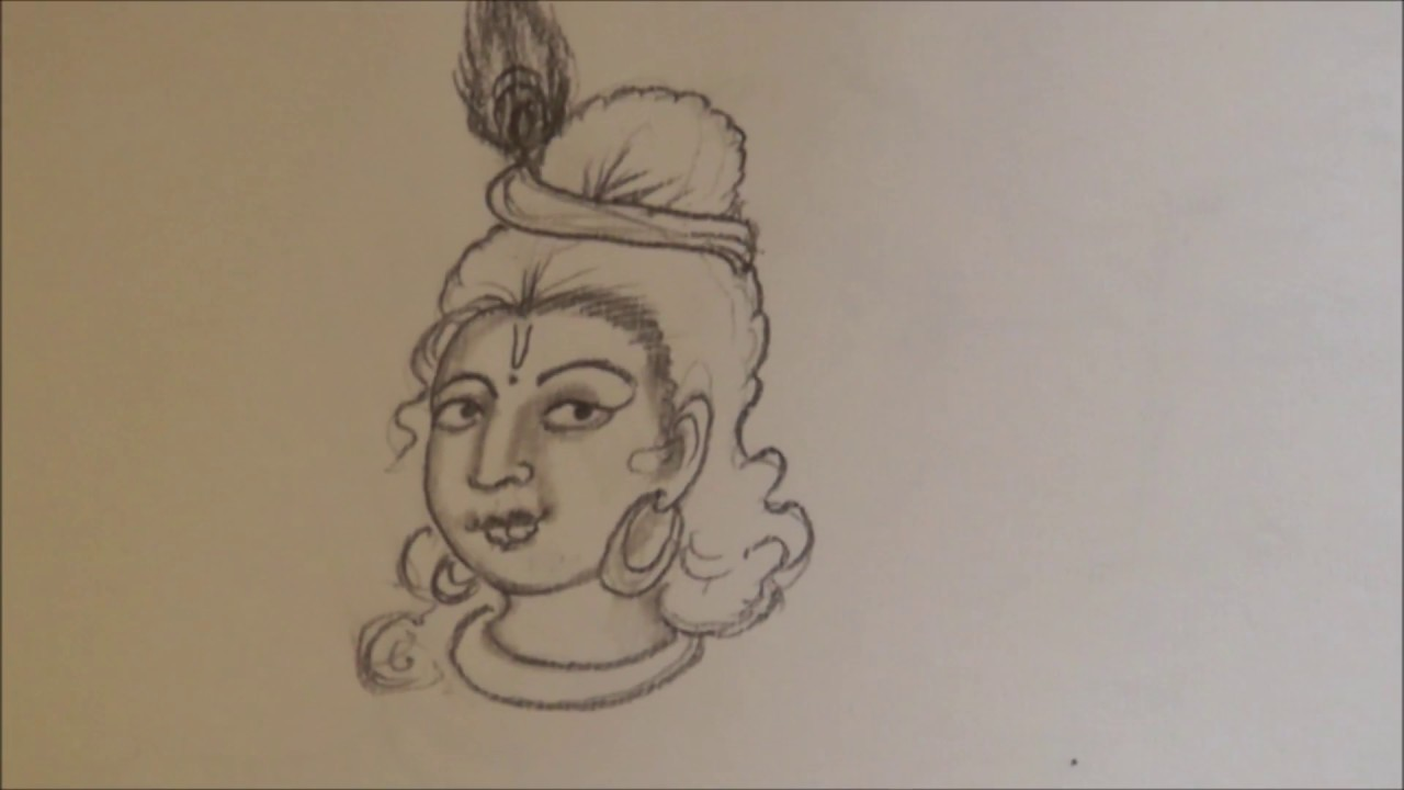Free Hand Sketch Of Lord Krishna Face With Shading Ssc Arts 191