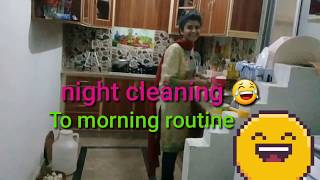 Night cleaning  morning routine 😄 clean with me.