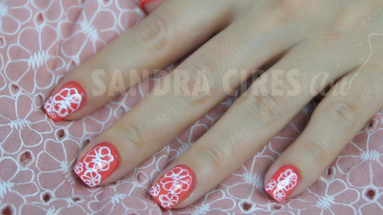 Nail Art Vintage Naranja Coral Con Flores Blancas En Micropintura