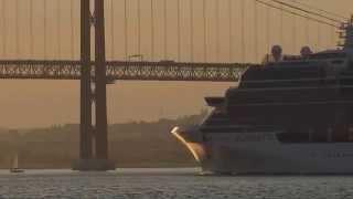 The Celebrity Silhouette cruise ship leaving Lisbon