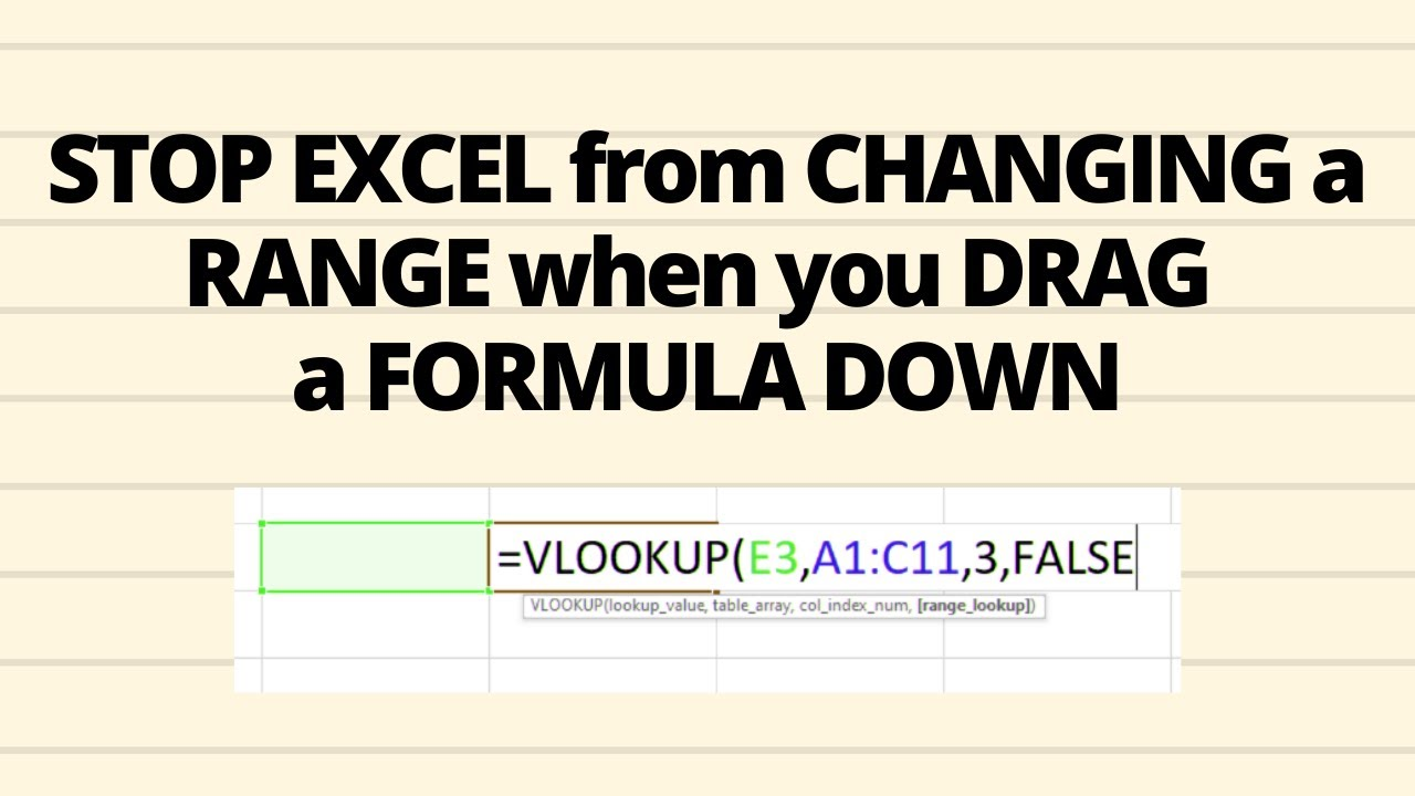 How to stop excel from changing a range when you drag a formula down    Fixing a Range example