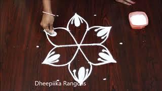 Easy rangoli design with 5x3 dots l small daily kolam designs l latest muggulu designs