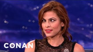 eva mendes is dead set on hurting her eyes conan on tbs
