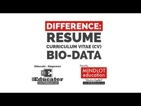 Difference Between Resume Curriculum Vitae Cv Bio Data Malayalam Youtube
