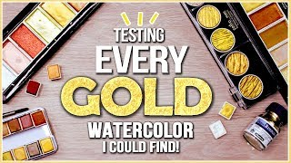 Testing EVERY GOLD Metallic Watercolor Paint I Could Find