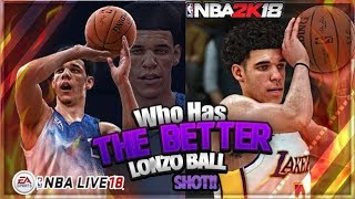 THIS ONE IS EXTREMELY CLOSE! NBA LIVE 18 VS NBA 2K18 LONZO BALL SHOT ANIMATION!!